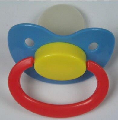 Adult  large pacifier blu/yell/lt org