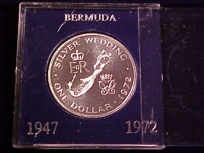 Bermuda Silver Proof Crown 1972 Nice Map Of Bermuda In Case