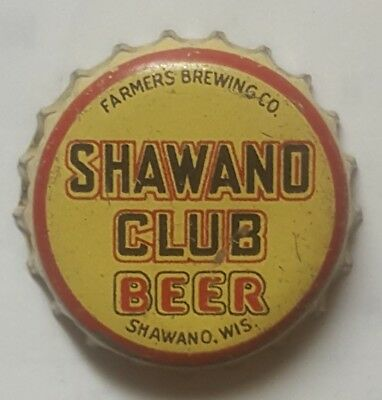Antique Shawano Club Beer Cork Lined Bottle Cap Shawano Wisconsin
