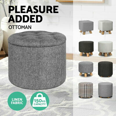Fabric Ottoman Foot Stool Foot Rest Pouffe Pine Wood Storage Chest Padded Seat