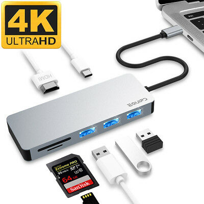 Aluminum USB Type-C 7in1 Hub Adapter 4K HDMI Card Reader USB 3.0 87W PD Charging