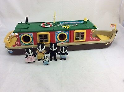 Lot Sylvanian Families Canal Boat Badger Doll Play Worn Bundle
