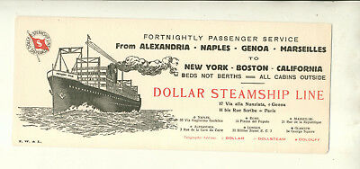 Dollar Steamship Line Unused Ink Blotter