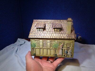 ~*~Estate Find~*~Antique Greman Tin Litho House Biscuit Tin Candy Tin