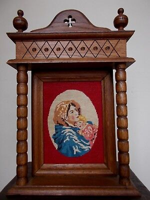 Vintage~Antique Hand Crafted Tapestry In Carved Oak Gothic Frame~Mother & Child
