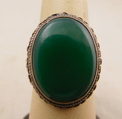 Vintage Art Deco Sterling Silver Green Agate Stone Twisted Size 6.5 Ring