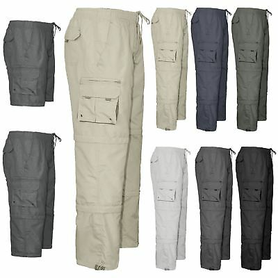 Mens 3 in 1 Elasticated Waist Summer Cargo Combat Trousers lightweight Pants
