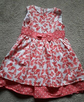 Baby girls pink & white butterfly dress with spotty features 18-24 months