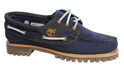 Timberland 3 Eye Lace Up Navy Leather Denim Womens Boat Shoes A1GBJ D61