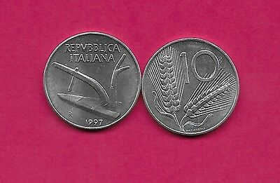 Italy Rep 10 Lire 1997R Unc Plow,value Within Wheat Ears