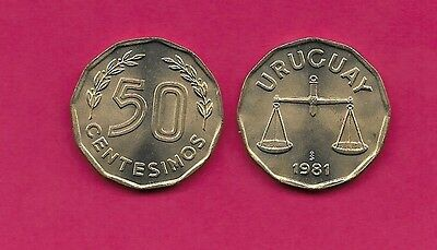 Uruguay Rep 50 Centesimos 1981 Unc Scale,12 Sided,value Flanked By Sprigs