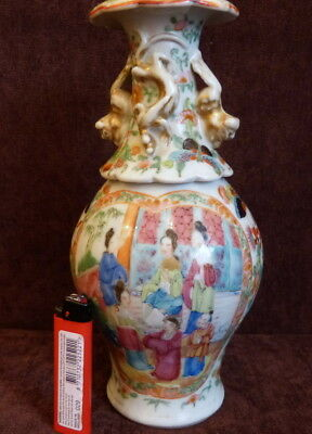 Antique Chinese Famille Rose Mandarin  Vase 19 th
