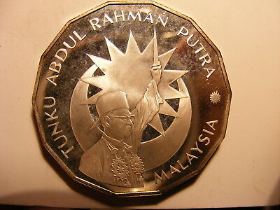 Malaysia 25 Ringgit, 1982, 25th Anniversary of Independence, Toned Silver Proof