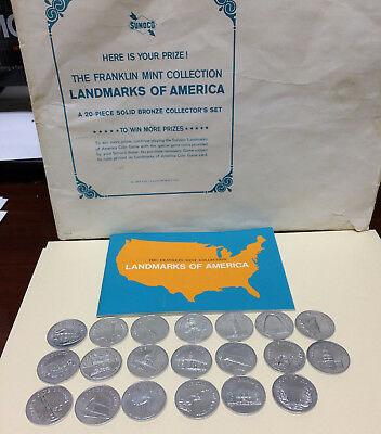 Sunoco Landmarks of america coins Franklin Mint 20 coins & booklet 1969