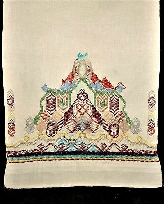 Vintage Hand Embroidered Sampler Kitchen Hand Huck Towel Finished Cross Stitch