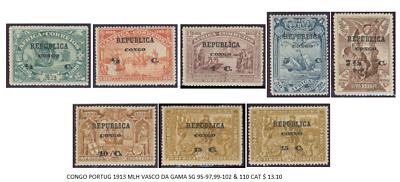 Congo Portugal 1913 Mlh Vasco Da Gama Sg 95-97,99-102 & 110 Post Stamps Lot Exc