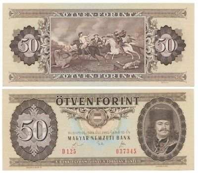5o Forints Hungarian banknote issued in 10.01.1989 D aunc