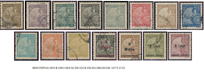 India Portug 1933 & 1942 Used St Gibbons 505-515 & 550,551,548,543,544, Stamps