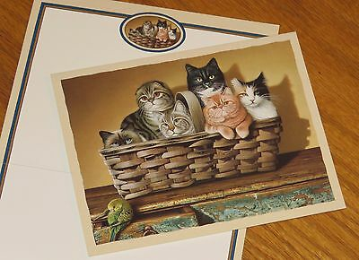 Braldt Bralds Art cats basket parakeet bird Lang Bookmark Deluxe Note Cards 3ct