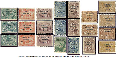 Lourenzo Marques 1913 Mlh One Full Set Two Partial Sets Sg 107-109,111-114 & 115