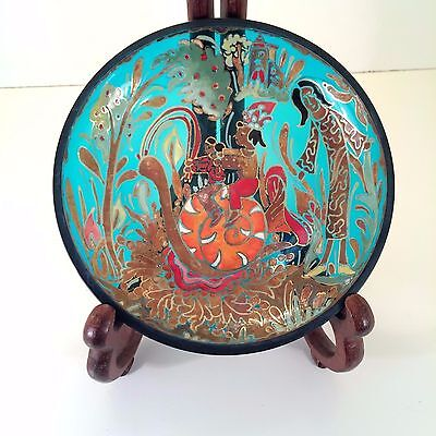 Jose Cire Royo Enameled Hand Painted Glass Dish Signed