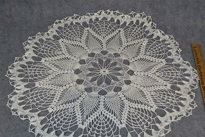 crochet table cloth doily round hand made Victorian antique original 22 in.