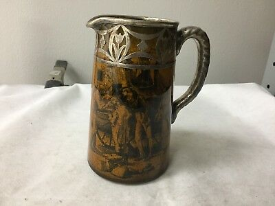 """Ridgeway Beautiful Pitcher 6"""" with Heavy Silver Overlay Decoration Inv WI 1627"""