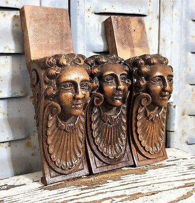 Gothic Lady Figure Antique French Hand Carved Wood Salvaged Furniture Ornament