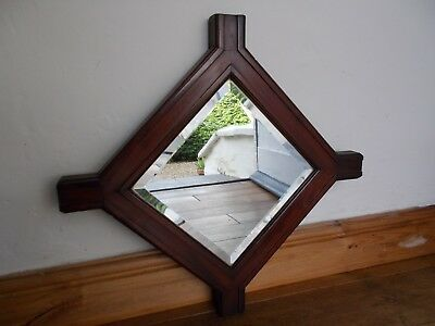 Antique Gothic Bevelled Edge Glass  Mirror With Cruciform Mahogany Wooden Frame