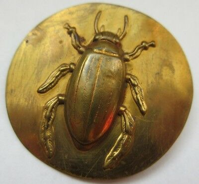 "Amazing X LARGE Over 2"" Antique~ Vtg Metal Picture BUTTON w/ Relief Beetle (M1)"