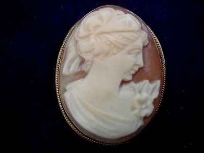 A Fine Vintage Solid 9Ct Gold Hallmarked Cameo Combine Pendant Or Brooch