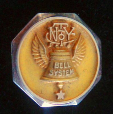 Antique NY BELL SYSTEMS Collectible: 10K Gold Employee Service Award Pin Badge