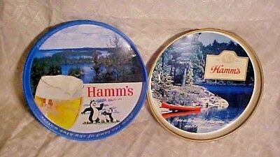 Vintage Old Antique Tin Metal Hamms Beer Bear Tip Tray Sky Blue Waters Bar Sign