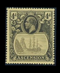 ASCENSION ISLAND MNH ST GIBBONS 15a BROKEN MAINMAST CAT 682.00$ POST STAMP RARE
