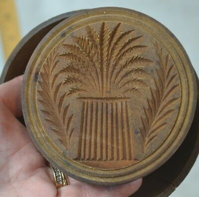 butter stamp mold wood carved treen wheat lg 4.5 in.  press antique original