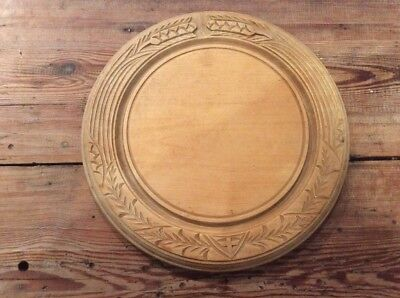 % Vintage Wheat Sheaf Carved Wooden Bread Chopping Board %