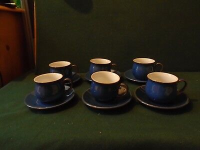 Six Denby Imperial Blue  small coffee cups and saucers