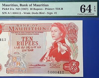 MAURITIUS-10 RUPEES-1967-P.31a-VERY SCARCE SIGN.1-LOW S.N 000412*UNC PMG 64 EPQ*
