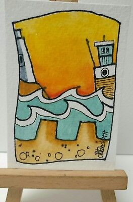 Original Watercolour Painting ACEO - Castles In The Sand