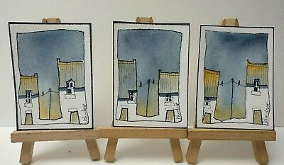 3 Original Watercolour Paintings ACEO - Crumbs Before Thunder