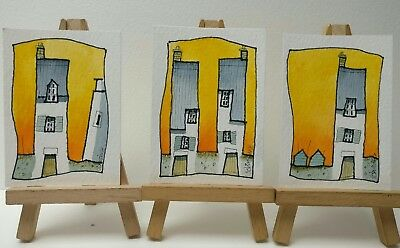 3 Original Watercolour Paintings ACEO - Sultry Night