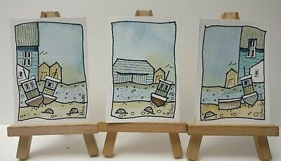3 Original Watercolour Paintings ACEO - Perfect Quay