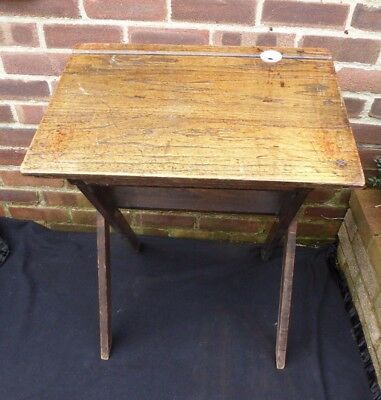 Vintage Slanted Folding Wooden School Desk Table With Ceramic Inkwell