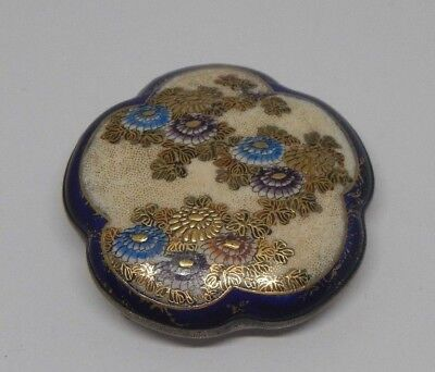 Antique Japanese Satsuma Belt Buckle~Meiji Period~Hand Painted Chrysanthemums