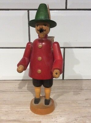 % Vintage Gdr Smoking Wooden Figure With Bird Cage, Insence %
