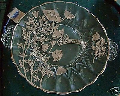 25th Anniversary Crystal Cake Plate Flanders Janice Sterling Silver Overlay Mint
