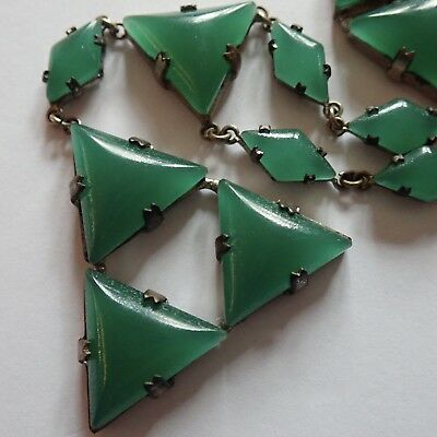 Vintage Art Deco Faux Chrysoprase Green Czech Glass Geometric Triangles Necklace
