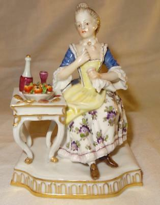 German DRESDEN Meissen Style Figure of a Lady at her Dining Table