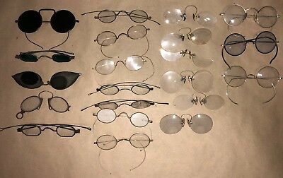Lot of 21 vintage eyeglasses, sunglasses, driving goggles, pince nez