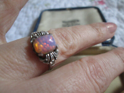 Antique Art Deco Ring, Paste Pink Opal, 9Ct Gold & Silver, 1920's Ring